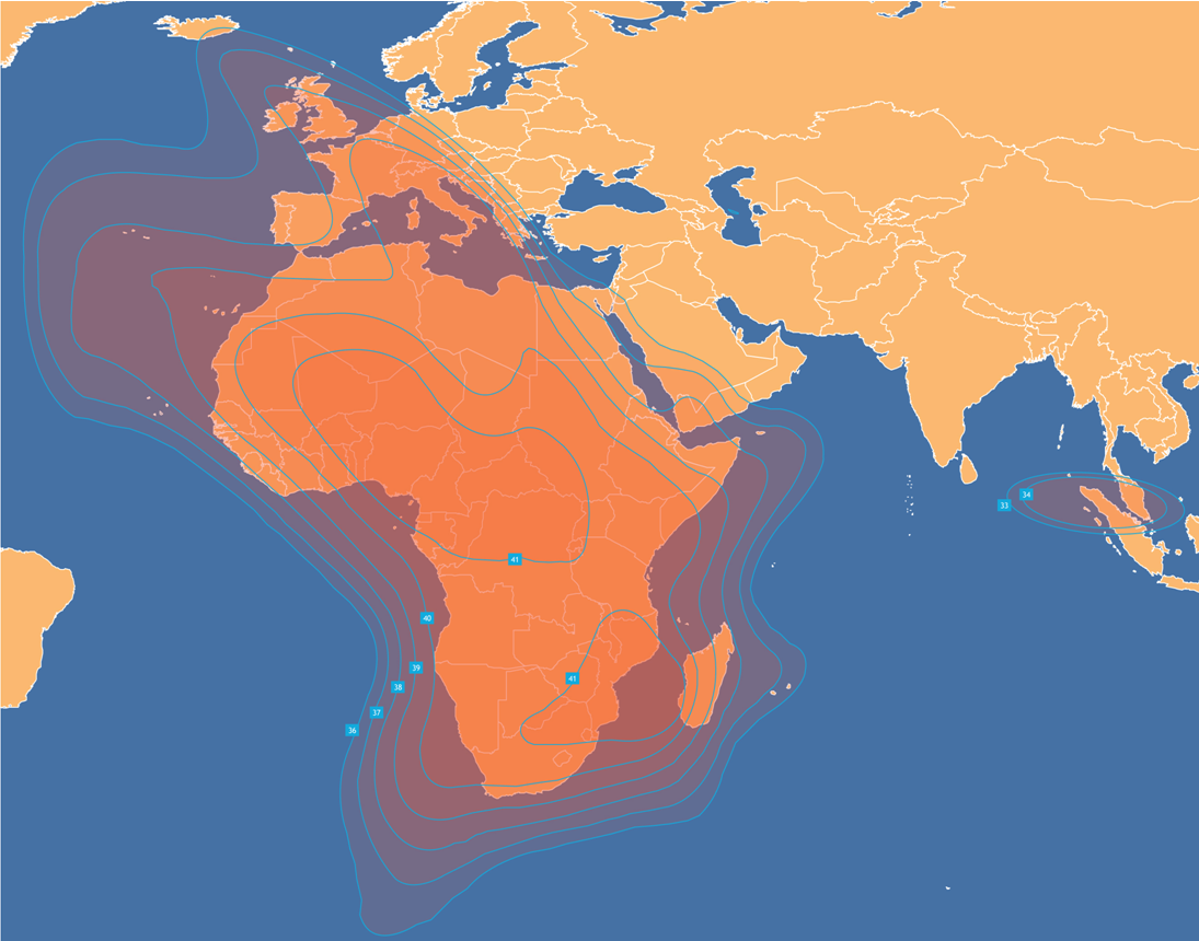 AFRICASAT-1a footprint / coverage map for Africa.
